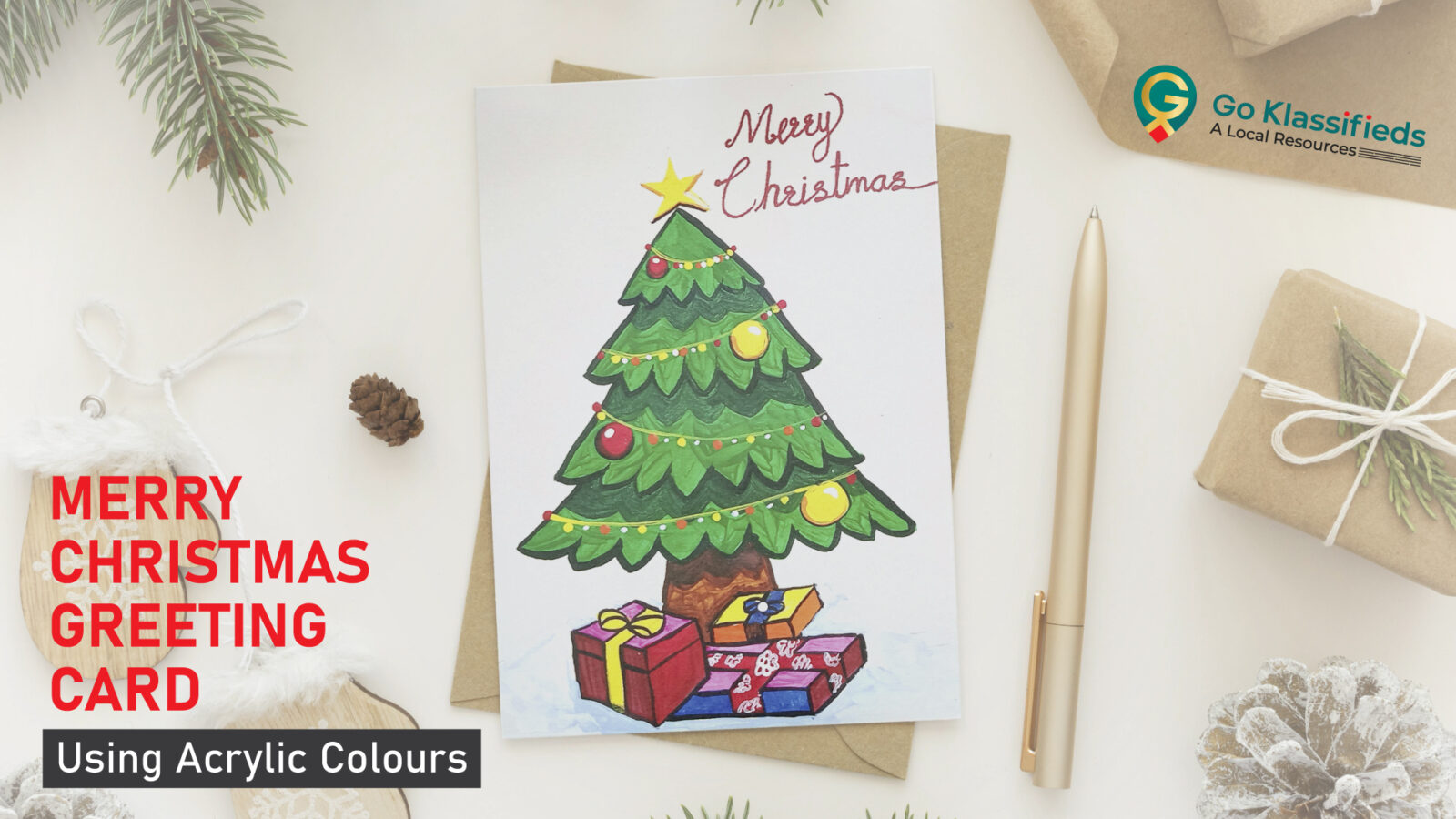 Merry Christmas Greeting Card Drawing